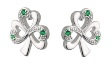 Sterling Silver Emerald Shamrock Earrings WBS33152