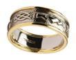 Mens 14k Gold Claddagh Celtic Knot Wedding Band with White Gold Centre and Yellow Gold Trim WBWED248