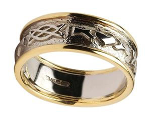 Mens 14k Gold Claddagh Celtic Knot Wedding Band With White Centre And Yellow Trim